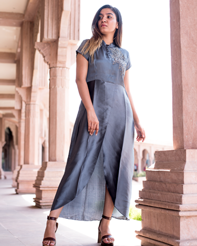 Metallic Gray Overlapped Dress