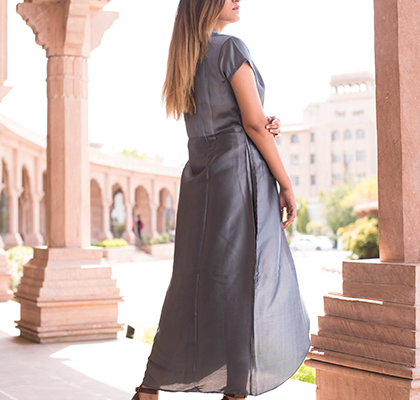 Metallic Gray Overlapped Dress