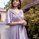 One Shoulder Metallic Pink Dress
