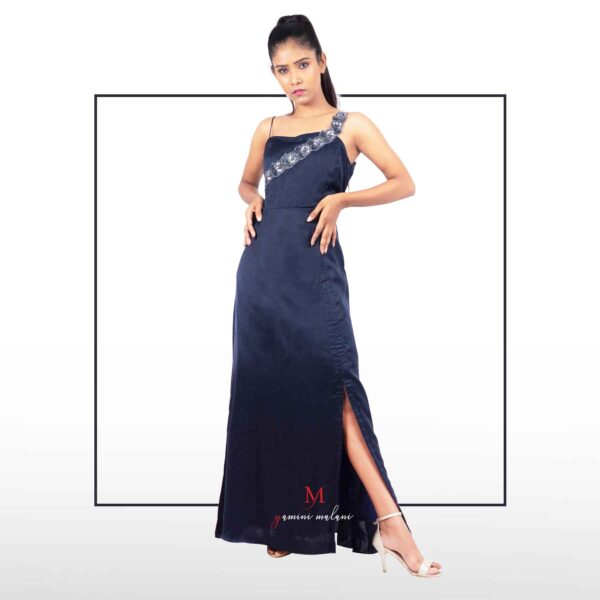 navy blue slit maxi dress for midnight cocktail party
