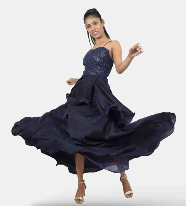noodle strap gown, semi peplum layers